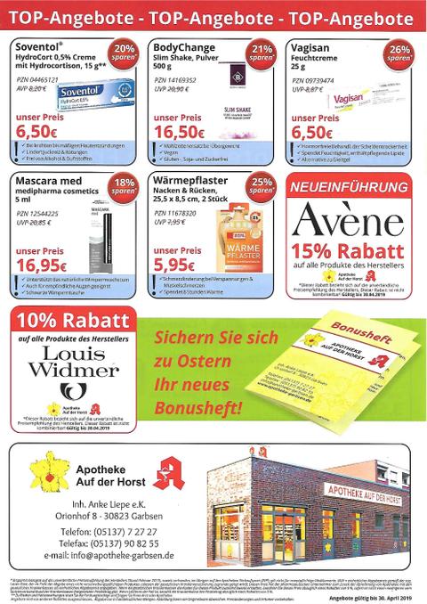 Aktionsflyer der Apotheke Auf der Horst
