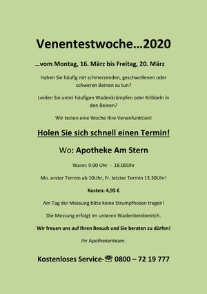Aktionsflyer der Apotheke Am Stern