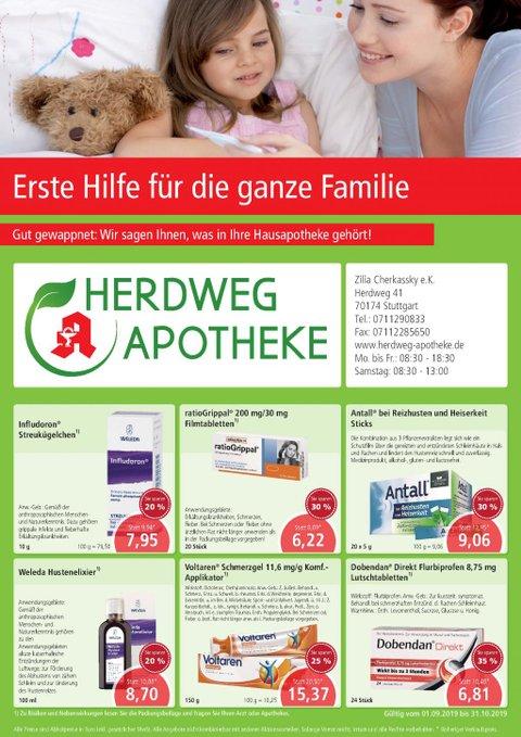 Aktionsflyer der Herdweg-Apotheke