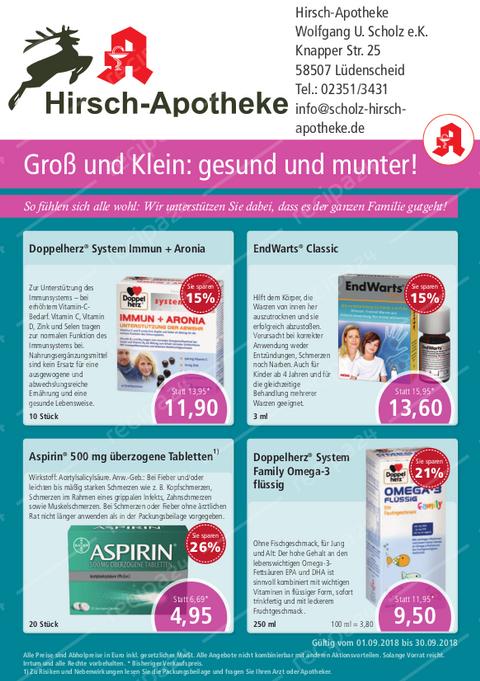 Aktionsflyer der Hirsch-Apotheke