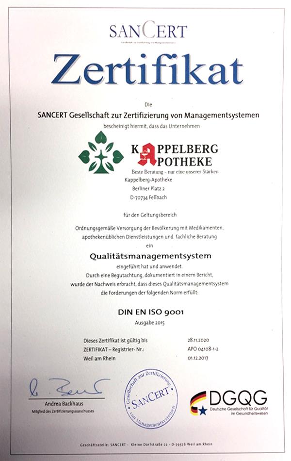 QMS-Zertifikat | Kappelberg-Apotheke Fellbach in 70734 Fellbach