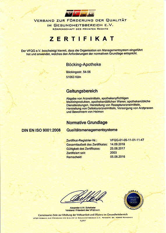 Zertifikate   Böcking-Apotheke in 51063 Köln