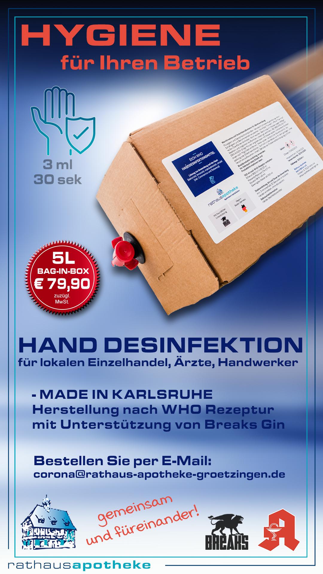 Rathaus Apotheke Groetzingen Desinfektionsmittel
