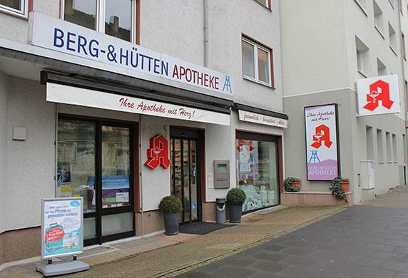 Frontansicht der Berg- & Hütten-Apotheke in Bochum